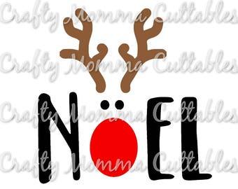 Noel Reindeer SVG file // Antlers SVG // Christmas Cut File // Noel SVG // Christmas Cut File // Silhouette File // Cutting File /