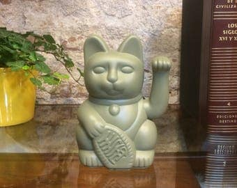 Maneki Neko / Lucky Cat / Waving Cat in 2 Sizes – Sage Green