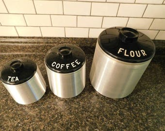 Aluminum Vintage Kitchen Canisters 1950s SHIPPING INCLUDED