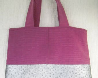Pink and silver old cotton tote bag