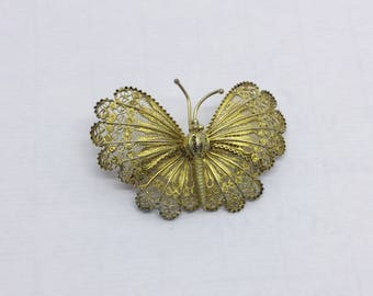 gold over Sterling silver filigree butterfly brooch  #416