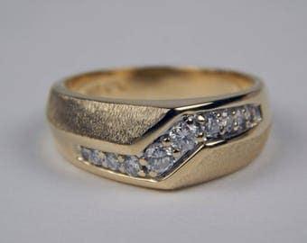 14k yellow white gold diamond band ring #10599