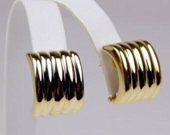 18k Gold omega back earrings #10603