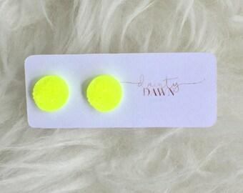 12mm Neon Yellow : Druzy Stud Earrings
