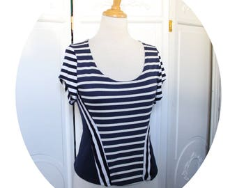 Top strapless Navy blue stripes, short sleeves, top blue and white striped jersey fitted, short sleeves, strapless top, striped Tshirt