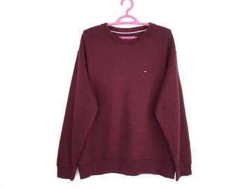 Rare!! Tommy Hilfiger Small Logo Embroidery Pullover Jumpa Sweatshirt