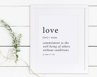 Love Print / Definition Print / Fruit of the Spirit / Fruits of the Spirit / Bible Verse Print / Galatians 5 / Bible Verse Art / Galatians