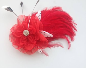 Red and white fascinator hair clip
