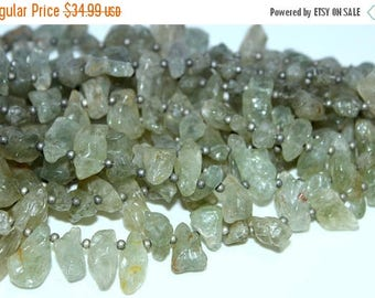Rarest!!~ 100% Natural  Green Amethyst Smooth  Rough Beads Nuggets Shape 18x8mm 33x13mm Approx  16''Inch Top Quality