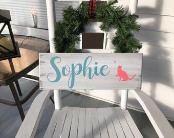 Personalized name sign with cat and butterfly accents