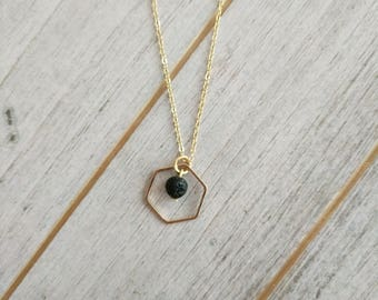 Tiny Hexagon LAVA Diffuser Necklace, LAVA necklace, Diffuser Necklace, Minimalist jewelry, hexagon necklace, aromatherapy jewelry