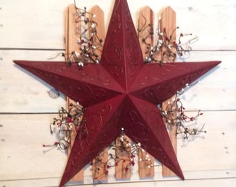Large holiday star Primitive wall decor Holiday home decor  Picket fence decor