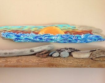 Handpainted,nautical,sunset,sunset on water,waves, drift wood, drift wood art,acrylic painting.Contact For Shipping Fee.