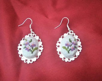 Silver earrings with embroidery , embroidery earrings, earrings,