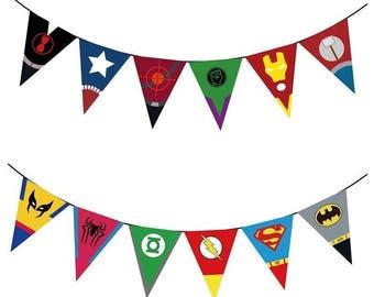 AVENGERS superhero banner bunting birthday party supplies batman, captain america, hulk, ironman room decor