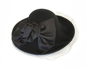 Vintage Wide-Brim Black Hat with veil and large cabbage rose bow by David M, birdcage veil, satin band, Church Hat, Formal Hat