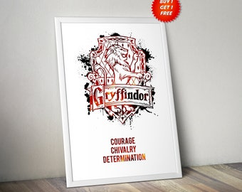 Gryffindor,House,Traits, Print, Poster, Fan Art, Harry Potter, Crest, Hogwarts, Lion,Birthday, Ravenclaw, Hufflepuff, Slytherin,Mothers Day
