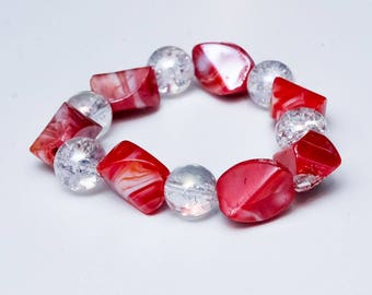Coral & Clear Beaded Bracelet