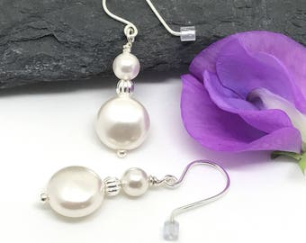 Pearl Earrings, Sterling Silver, Gift For Her