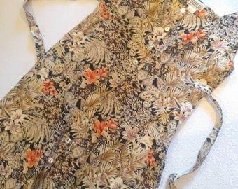 Vintage Exotic Floral Maxi Dress Empire Waist Button Up sz 10