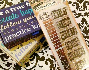 Tim Holtz Stampers Anonymous Mixed Media Coordinating Stamp/Stencil Set ~Artist Graffiti~