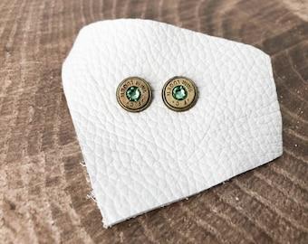 Peridot and Brass Swarovski Bullet Stud Earrings