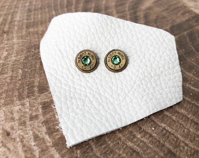 Featured listing image: Peridot and Brass Swarovski Bullet Stud Earrings