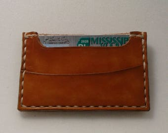 Minimalist front pocket wallet, hand made leather with 3 pockets, made in the USA