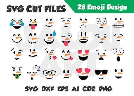 Snowman Emoji Santa Bundles Emijo Svg Smile Cricut Letters Cut File Dxf Eps