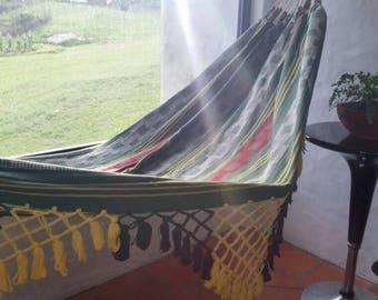 Green Hammock, Hand Woven,  Cotton with hand made Bell Fringe. Outdoor hammock, indoor hammock
