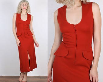 Vintage 70s Dress // Rust Red Zip Up Fitted Column Maxi - Small to Medium