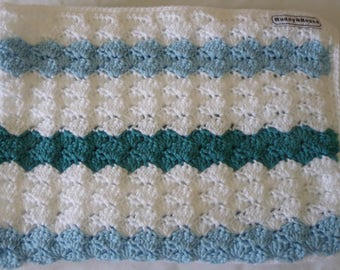 Shell Stitch Crocheted Baby Pram or Bassinet Blanket in Blue, Jade and White 8ply Yarn