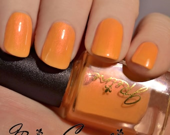Push Pop - Orange with red and gold shimmer Nail Polish