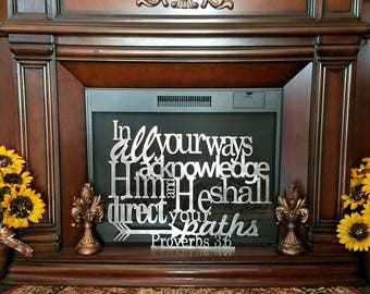 Metal Scripture wall art, Proverbs 3:6, Bible verse, Christian home decor, religious art