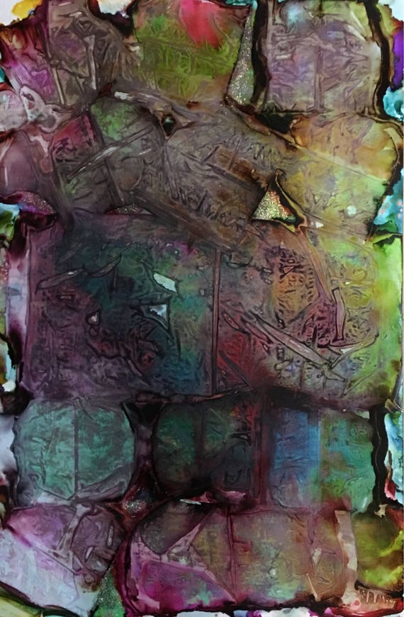 """Large Original Alcohol Ink Abstract: """"Breaking Down THE WALL"""" (23"""" x 35"""")"""