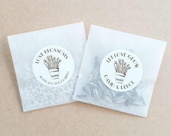 Personalised Seed Packet Favours Floral Pot Weddings Baby Showers Bomboniere Bridal Bonbonniere Sunflower Daisy x 20