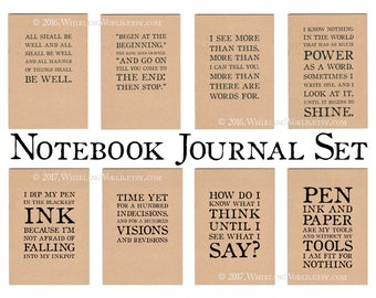 Notebook Journal Set | Bookish Quote Office Gift Set for Book Lover or Writer | A5 Kraft Journal Notebook Set, Recycled Cahier Set NaNoWriMo