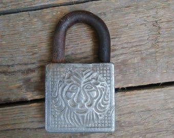 Lion Padlock,Soviet Padlock,Vintage door lock,Padlock decor, Door lock USSR,Rusted Door Lock,Rusty Padlock