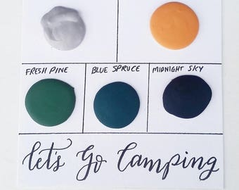 """Handmade Watercolor """"Let's Go Camping"""" Paint Sample Dot Card - FREE SHIPPING"""
