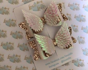 Girls hair bow angel wings white gold glitter sparkle