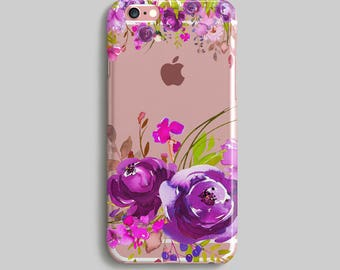 Purple Flowers Phone Case, iPhone 6 Cover, Watercolor Case iPhone, Clear iPhone 7 Case, Clear iPhone Case, Silicone iPhone 6S Case, TPU Case