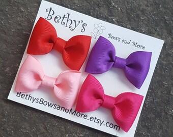 Summer Hair Bow Clip Set, Neon Bows, Small Hair Bows, 2 Inch Hair Bows, School Bows, Mini Hair Clippies, Toddler Hair Bows, Girls Hair Bows