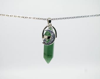 Green Aventurine Crystal Quartz Point Healing Stainless Steel Necklace For Men and Women Moon snd Star