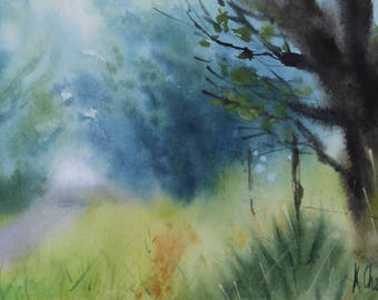 ORIGINAL Watercolor Painting - Foggy morning landscape - Forest landscape - Nature painting