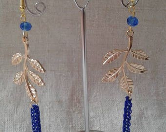 "Earrings ""blue gold leaf and chains"""
