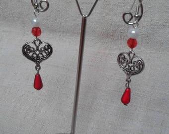 """Earrings """"engraved heart and beads"""""""