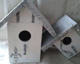 set of 2 wooden birds nests, weathered gray and white