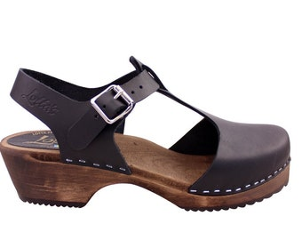 Swedish Clogs Low Wood TBar Black Leather Brown Base by Lotta from Stockholm / Wooden Clogs / Sandals / Low Heel / Mary Jane Shoes