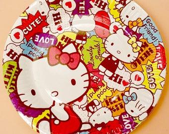 Hello Kitty Birthday Party Plates - Girls Birthday Party Decor - Hello Kitty Party Decoration - Sanrio Party Decor - Party Supplies