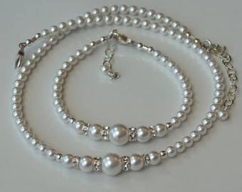 White Simulated Pearl Toddler Flower Girl and Bridesmaids Necklace and Bracelet Gift Set